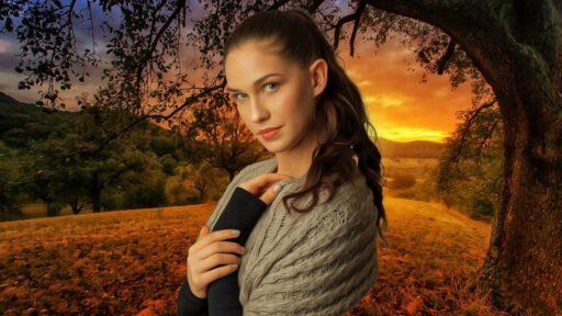 Mujer celta de cabello castaño en la pradera. Nombres celtas.