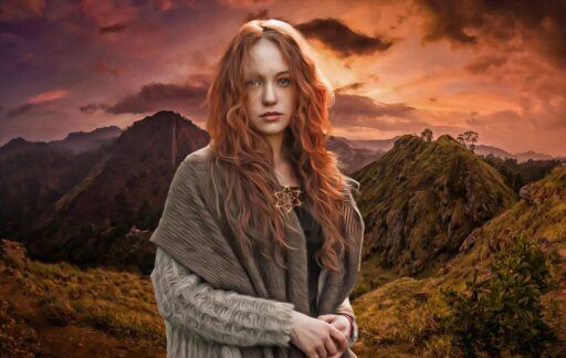 mujer celta en las montañas