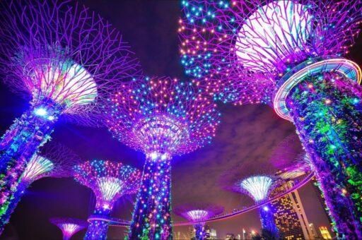 Jardines con arboles hechos con luces de colores que representan el árbol de la vida.