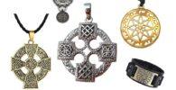 Cruces solar colgantes de bronce, plata, acero y oro.