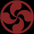 Lauburu rojo con circulo.