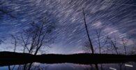 Lago con arbustos de fondo y estrellas moviéndose.