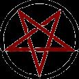Pentaculo celta color rojo con circulo negro.