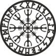 Símbolos vikingos, Aegishjalmur con runas, de color negro.