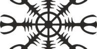 Símbolo vikingo Aegishjalmur de color negro.