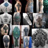 Tatuajes con la cruz celta en hombre y mujer.