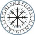 Símbolos vikingos y símbolo vegvísir con runas bordeando.
