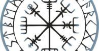 Símbolo vikingo vegvísir con runas bordeando.