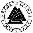 Valknut, símbolos vikingos con runas, conformado con tres triángulos negros entrelazados entre sí.