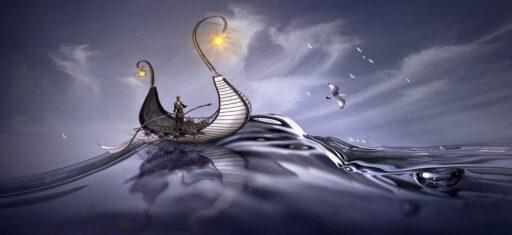 Barco vikingo en altamar con diseño gótico.