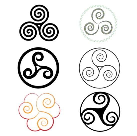 Variedad de imagenes con el triskel celta.