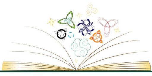 Libro abierto con símbolos nórdicos y celtas.