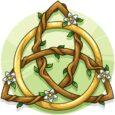 triqueta celta con anillo dorado y ramas verdes.