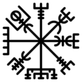Símbolo vikingo vegvísir de Galdrabókcolor negro.