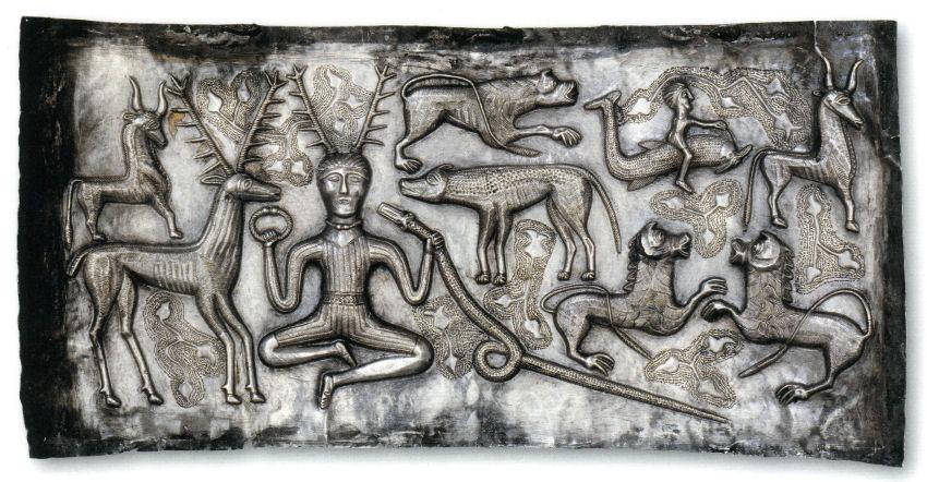 Dios Celta Cernunnos en el Caldero de Gundestrup, Museo Nacional de Dinamarca.