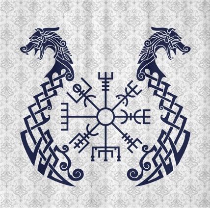 Símbolo  vikingo vegvísir con dragones en forma de barco.