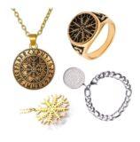 Accesorios aegishjalmur, pulseras, colgantes y anillos con el símbolo vikingo.