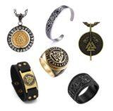 Accesorios valknut, pulseras, anillos y colgantes con el símbolo vikingo.