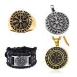 Accesorios vegvísir, pulseras, colgantes y anillos con el símbolo vikingo.