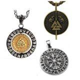 Colgantes vikingos de cuero, acero, plata y oro.