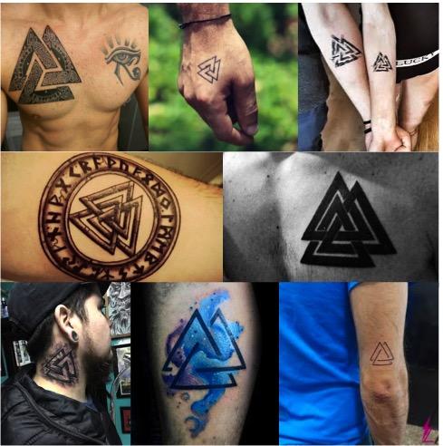 Tatuajes con el símbolo vikingo valknut.
