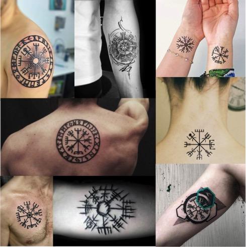 Tatuajes con el símbolo vikingo vegvísir tattoo.